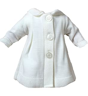 ba3dbd0bd6 BIMARO Baby Mädchen Strickjacke weiß mit Kapuze langarm Bolero ...