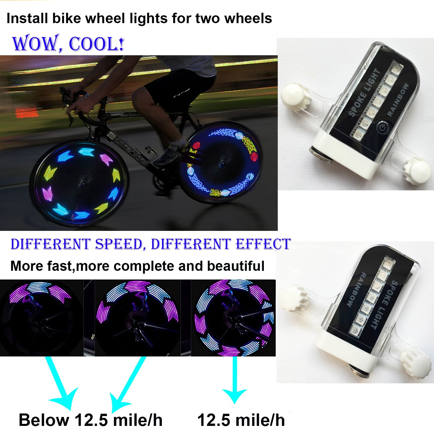 QANGEL Bike Wheel Lights,Waterproof Bike Spoke Lights Ultra Bright 14 LED Bicycle Wheel Lights,Safety Cool RGB Bike Tire Light for Kids Adults,30 Patterns Changes, Auto & Manual Dual Switch (2 Pack) by QANGEL (Image #2)