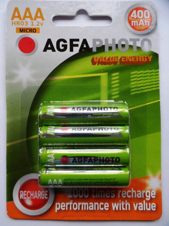Agfa Pilas AAA Recargables 400 mAh: Amazon.es: Electrónica