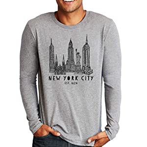 New York City, NYC, Empire State Building/Statue of Liberty/Chrysler Building, Long Sleeve Mens T-shirt, Men's Graphic Long Sleeve T Shirt, Shirts with Sayings, Funny Tee, Gray