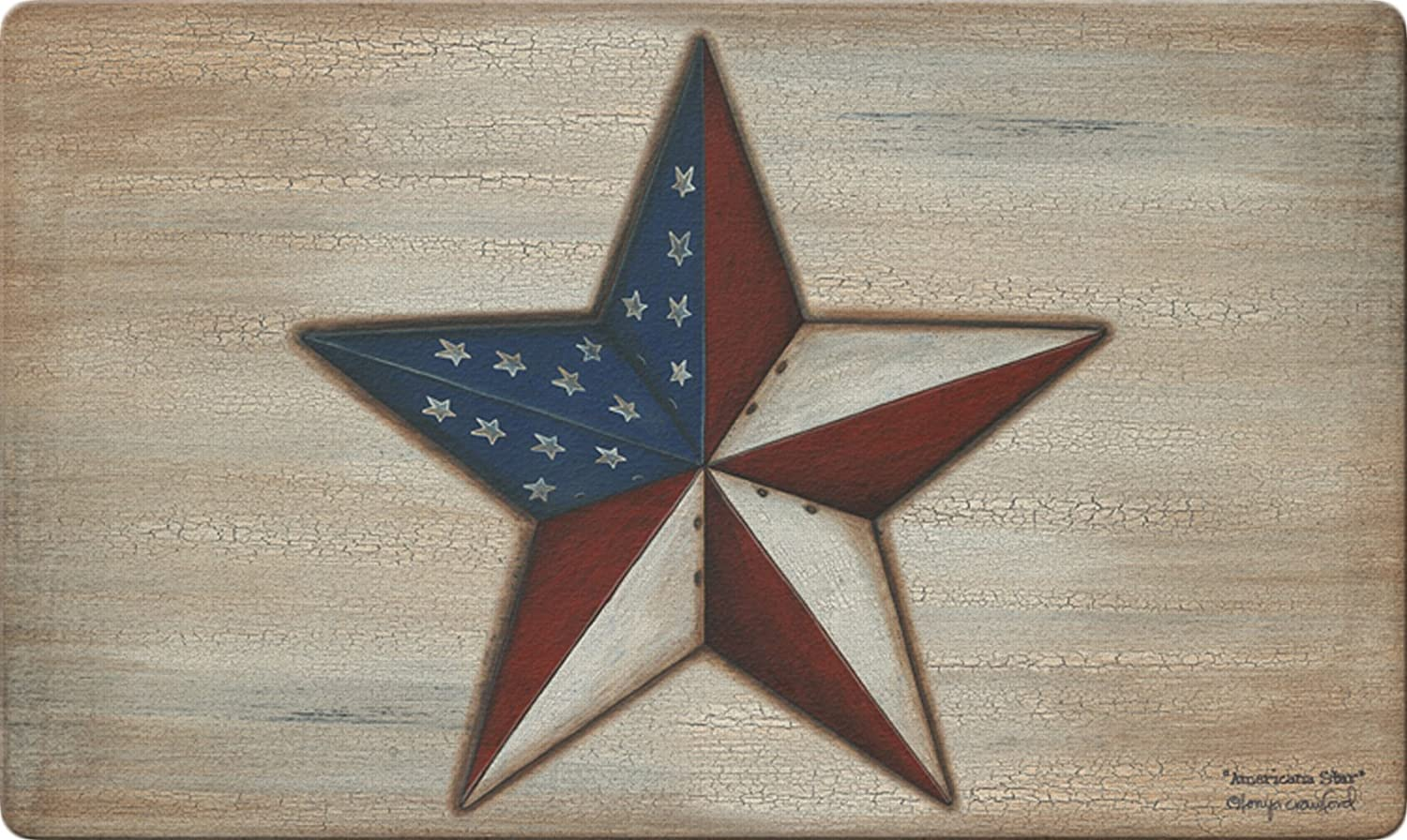Toland Home Garden American Star 18 x 30 Inch Decorative Floor Mat Rustic Patriotic USA Stars Stripes Doormat