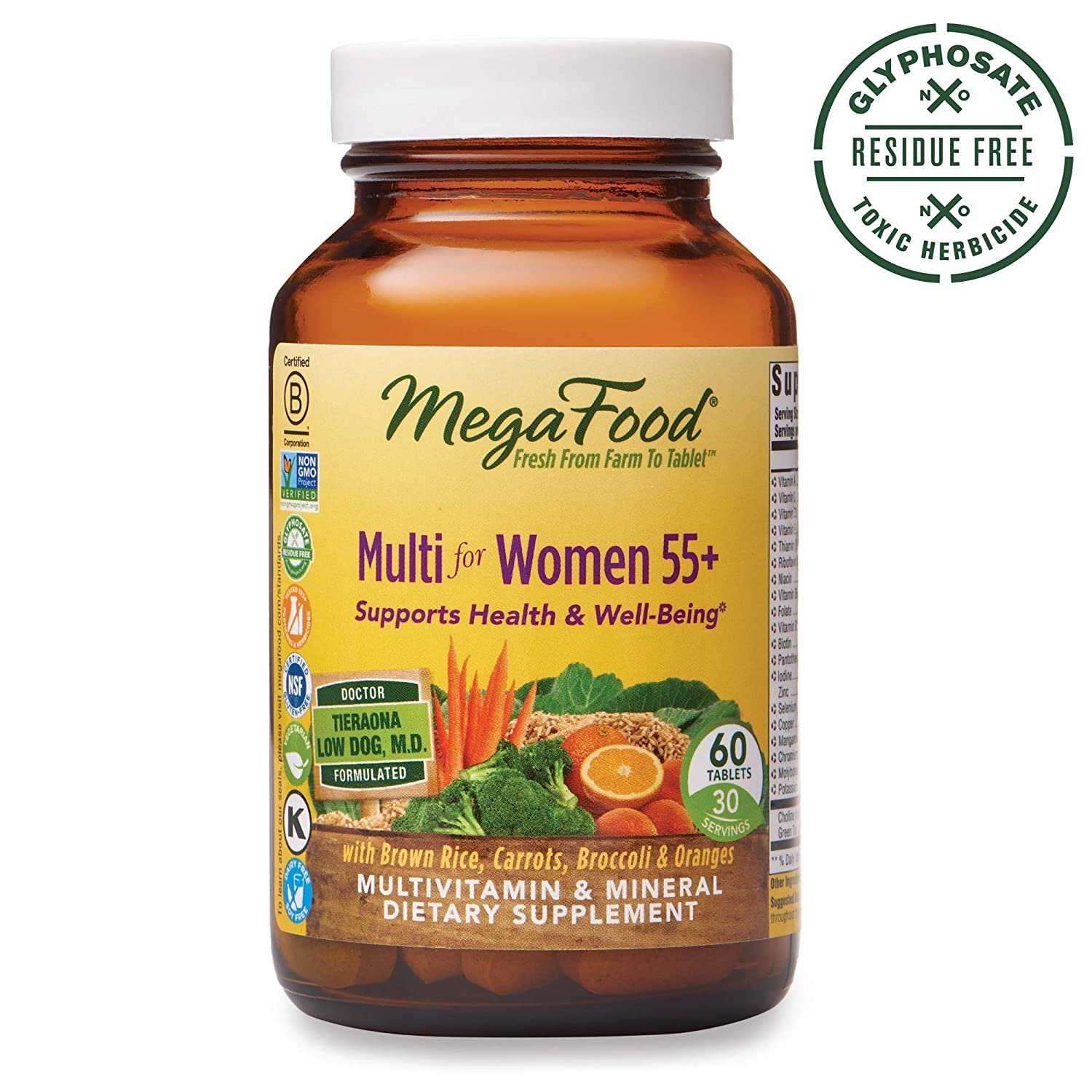 MegaFood, Multi for Women 55 , Supports Optimal Health and Wellbeing, Multivitamin and Mineral Dietary Supplement, Gluten Free, Vegetarian, 60 Tablets 30 Servings