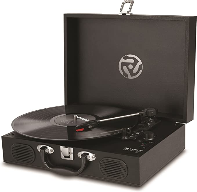 Numark PT01 Touring | Portable Suitcase Turntable with USB Connectivity for Conversion, Retro Styling, Onboard Stereo Speakers & Built in Rechargeable ...