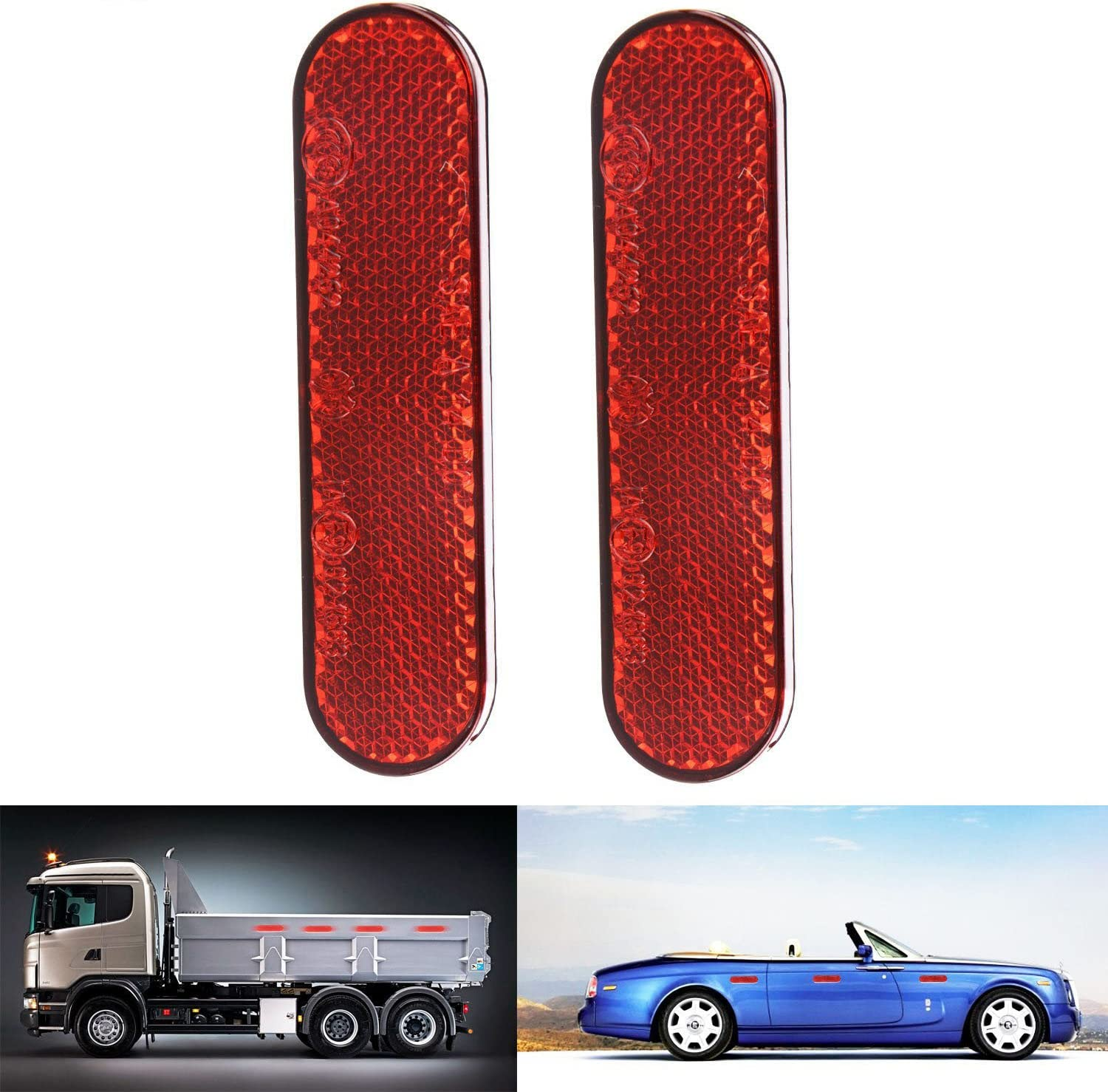 4x Red Reflective Car Motorcycles Sticker Reflector Round Chrome Self Adhesive