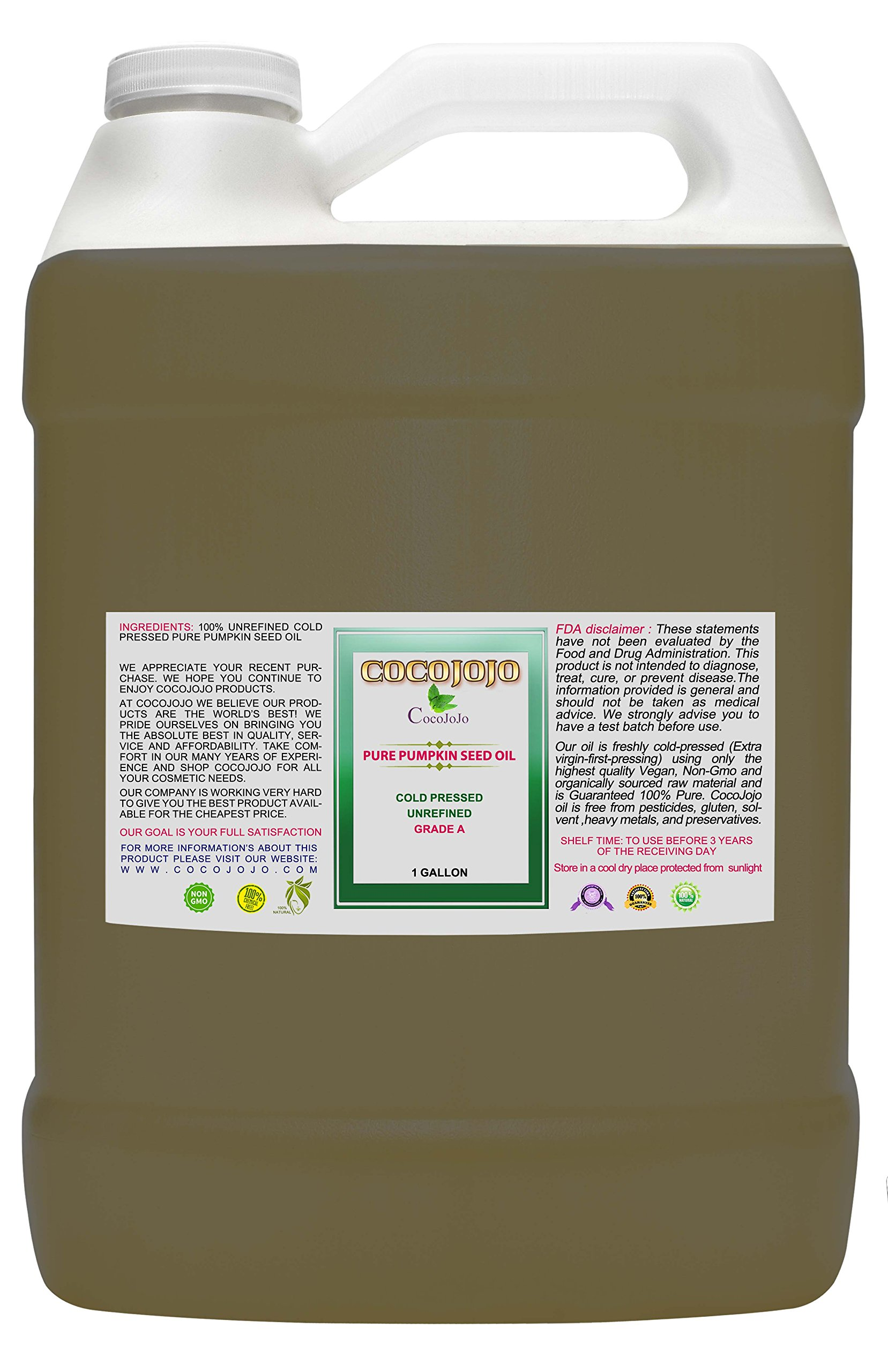 PUMPKIN SEED OIL - 1 Gallon Pumpkin Seed Oil 100% Pure Natural Totally Unrefined Cold Pressed Hair Regrowth Balding Premium Grade A