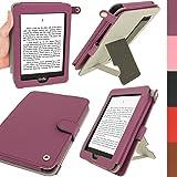 igadgitz PU Bi-View Leder Etui Hülle mit Sleep/Wake Funktion/Integrierte Handschlaufe für Amazon Kindle Paperwhite 2015/2014/2013/2012 lila