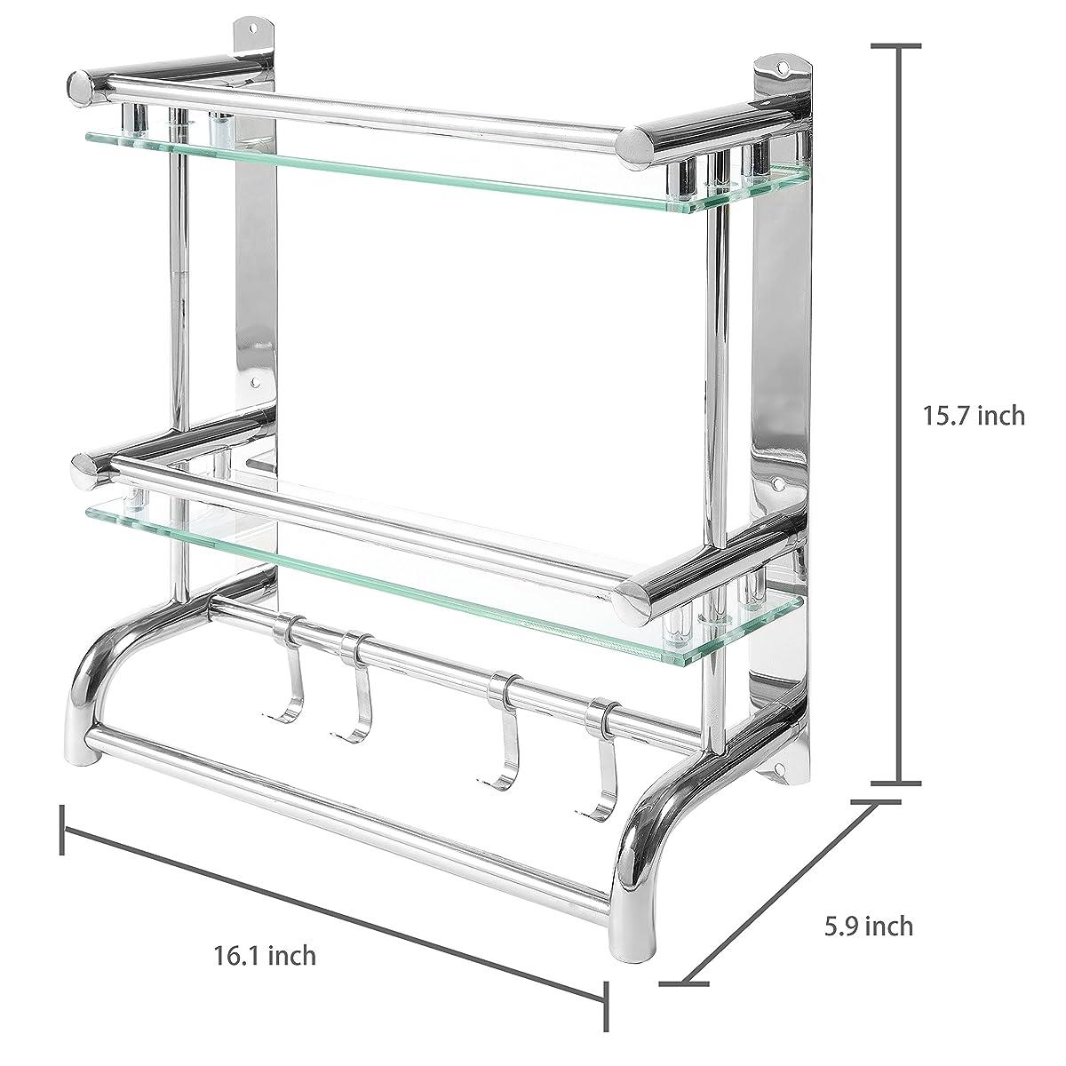 MyGift Wall Mounted Stainless Steel Bathroom Shelf Rack, 2 Tier Glass Shelves & 2 Towel Bars with Hooks