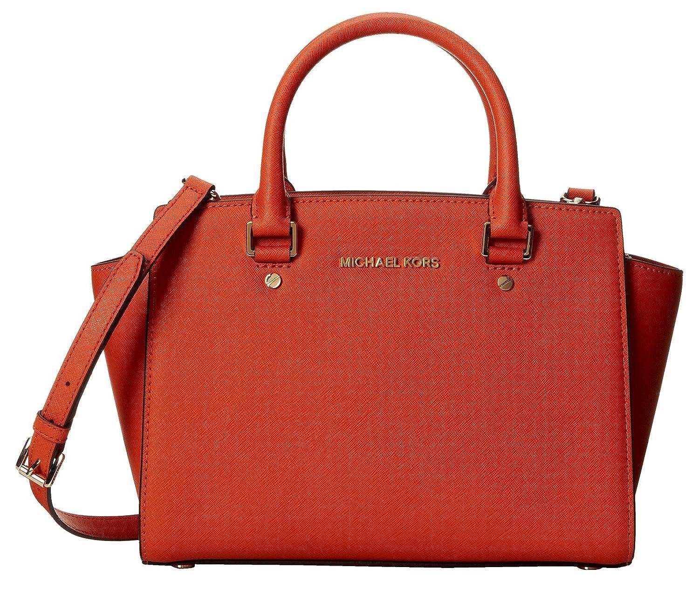 63a921ab62de Amazon.com: Michael Kors Selma Md Satchel Orange Leather: Shoes