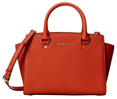 63a921ab62de Amazon.com: Michael Kors Selma Md Satchel Orange Leather: Shoes