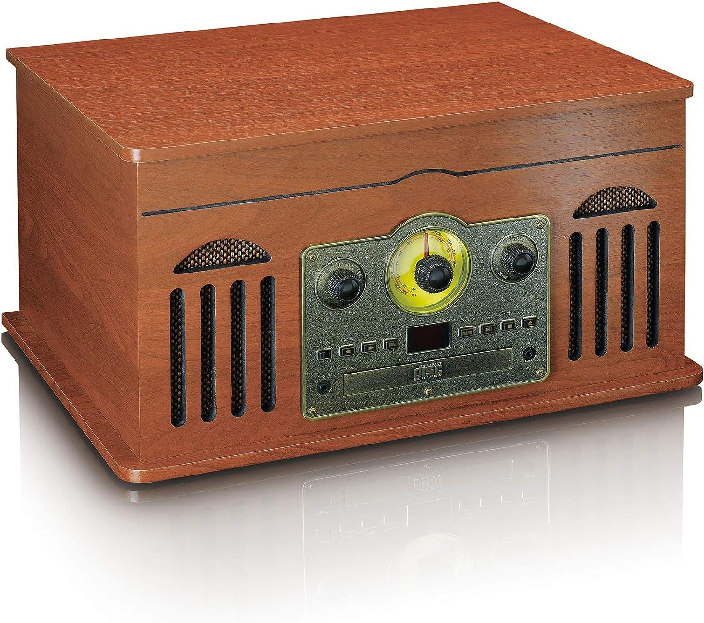 Classic Phono Tcd 2600 Mp3 33 45 E 78 Giri Min Lettore Cd Cassetta Legno Impianto Stereo Retro Con Giradischi Radio Am Fm Bluetooth E Usb Home Audio E Hi Fi Giradischi