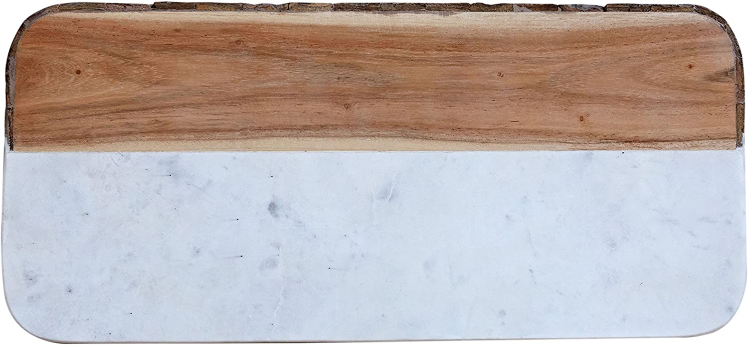 Creative Co Op White Marble Mango Wood Rectangle Cheese Board Each One Will Vary Cheese Plates