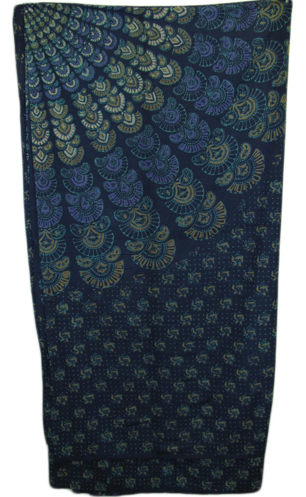 India Navy Blue Handloomed Cotton Mandala Peacock Bedspread Blanket Throw Tapestry 110''x 110'' (King Size) by Rajasthan Cottage (Image #2)