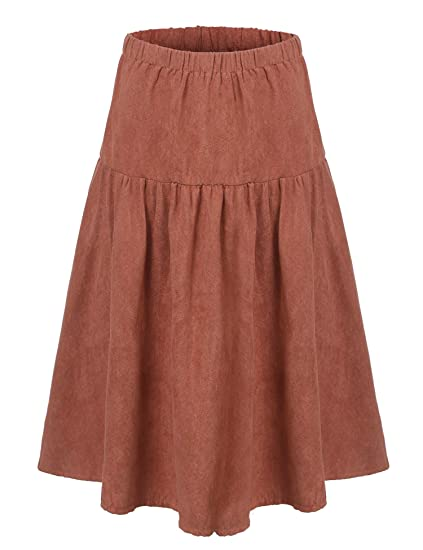 d41f6f51e Midi Brown Faux Suede Skirt Stretchy High Waisted Flare A Line Vintage Pleated  Skirts For Womens