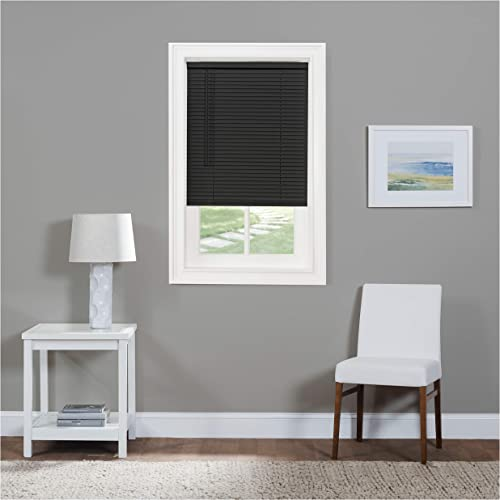 Serenity Home Cordless Mini Blind – 1 in. Light Filtering Window Shades – Vinyl Window Horizontal Mini Blind Black, 34×64