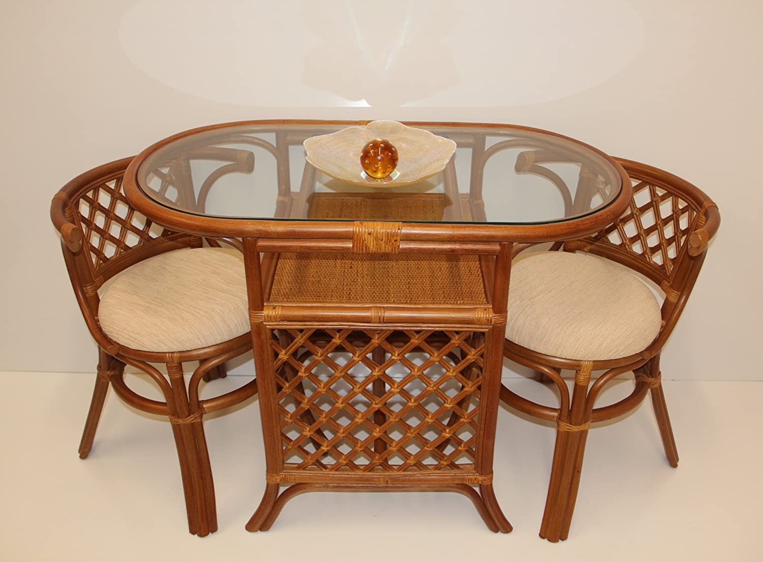 compact dining furniture. Amazon.com - Borneo Compact Dining SET Table With Glass Top +2 Chairs Colonial Handmade Natural Wicker Rattan Furniture \u0026 Chair Sets