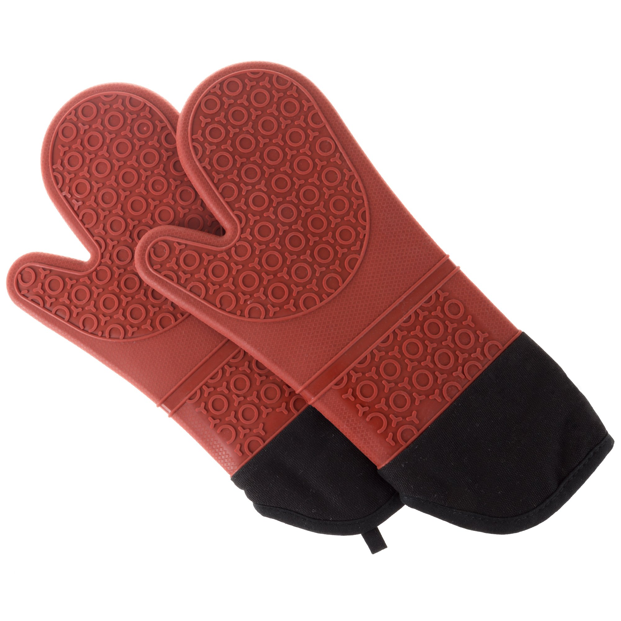 Silicone Oven Mitts – Extra Long Professional Quality Heat Resistant with Quilted Lining and 2-sided Textured Grip – 1 pair Dark Red by Lavish Home