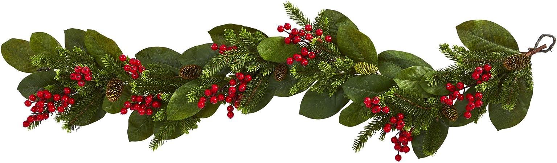 Amazon Com Nearly Natural 5 Ft Magnolia Berry Pine Artificial Garlands Green Furniture Decor