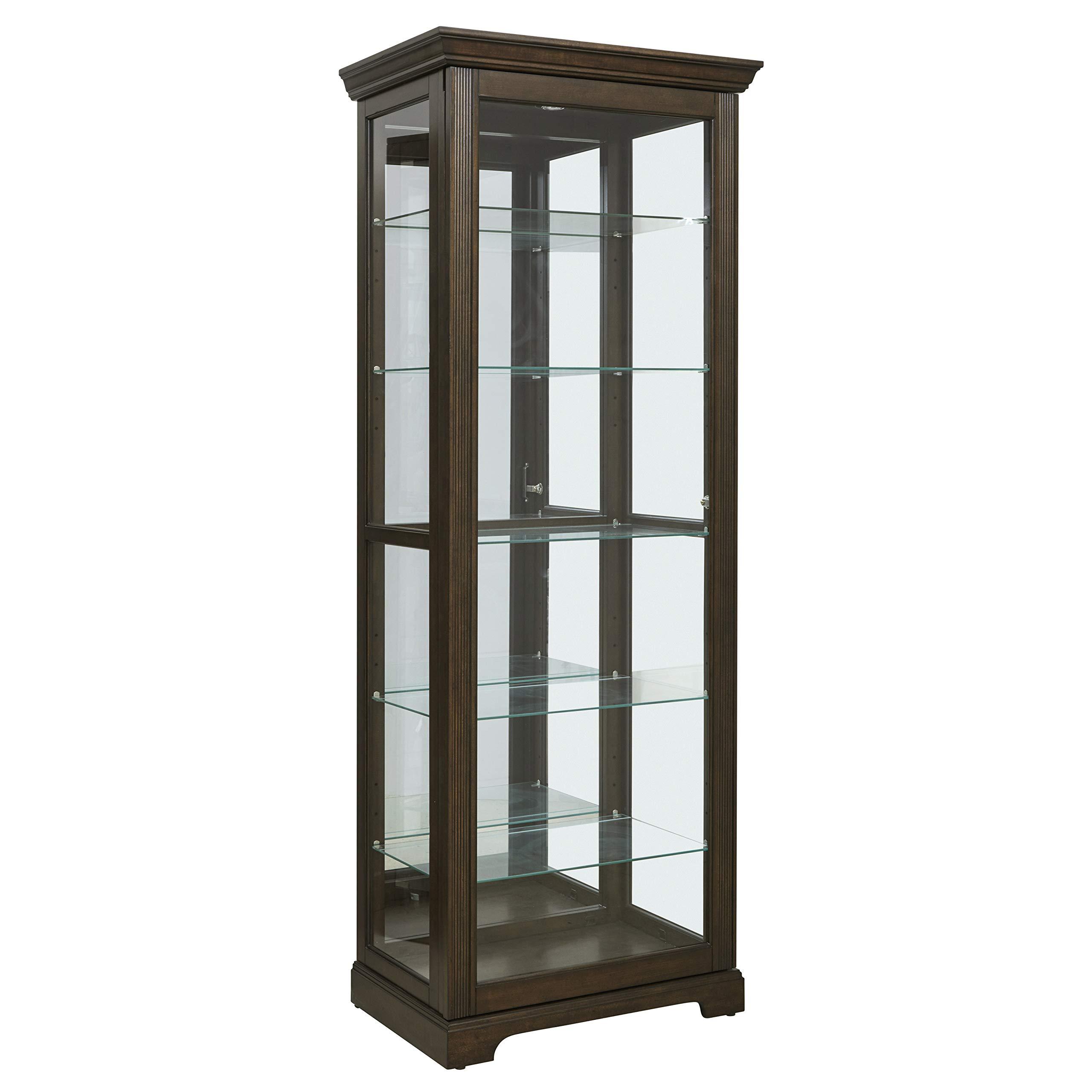 Pulaski  Locking Sliding Door Curio Display Cabinet, 29.25'' L x 19.5'' W x 80.0'' H, Cherry