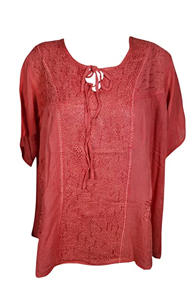Amazon.com: Blusa de túnica para mujer, diseño bordado ...