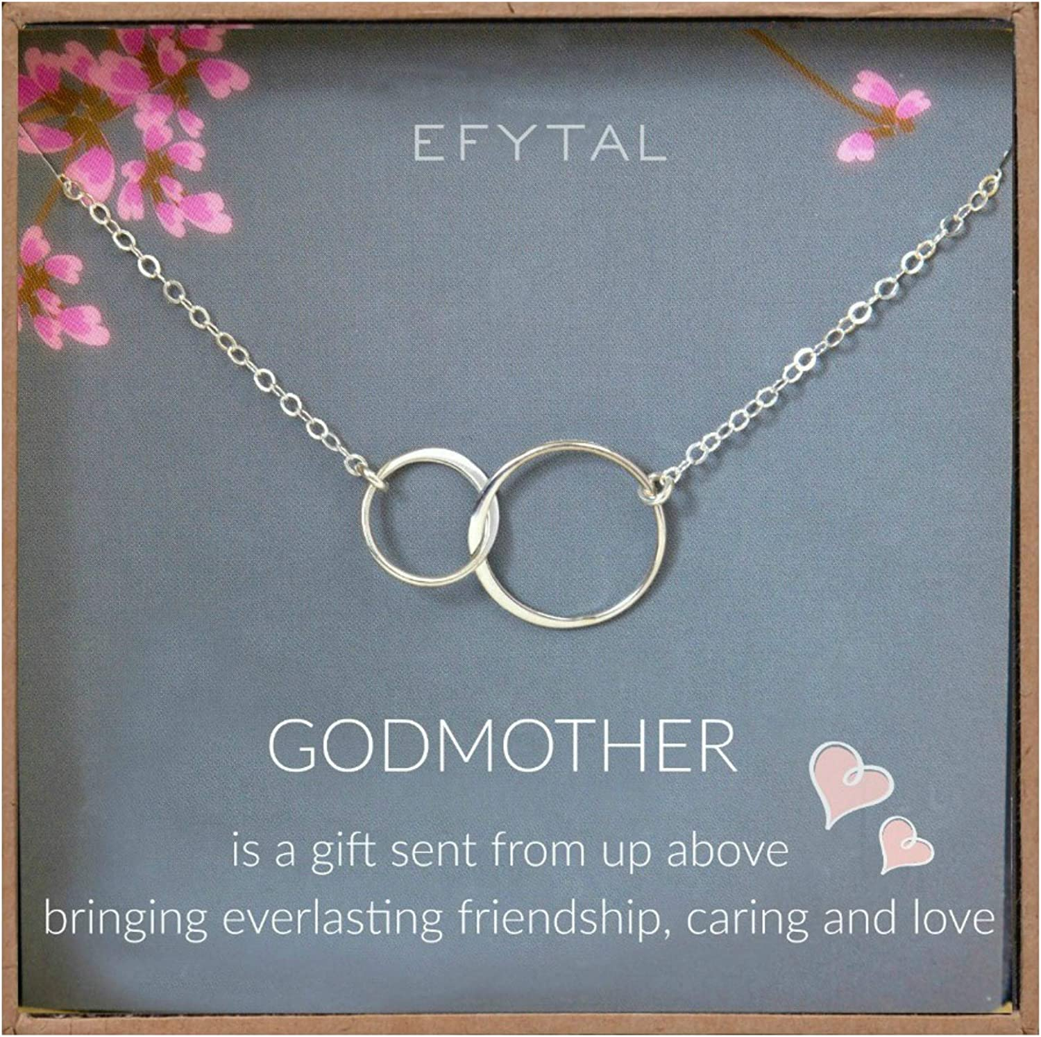Efytal Godmother Gifts From Godchild Sterling Silver Interlocking Circle Necklace Proposal Gift For Girl Baptism Amazon Ca Jewelry