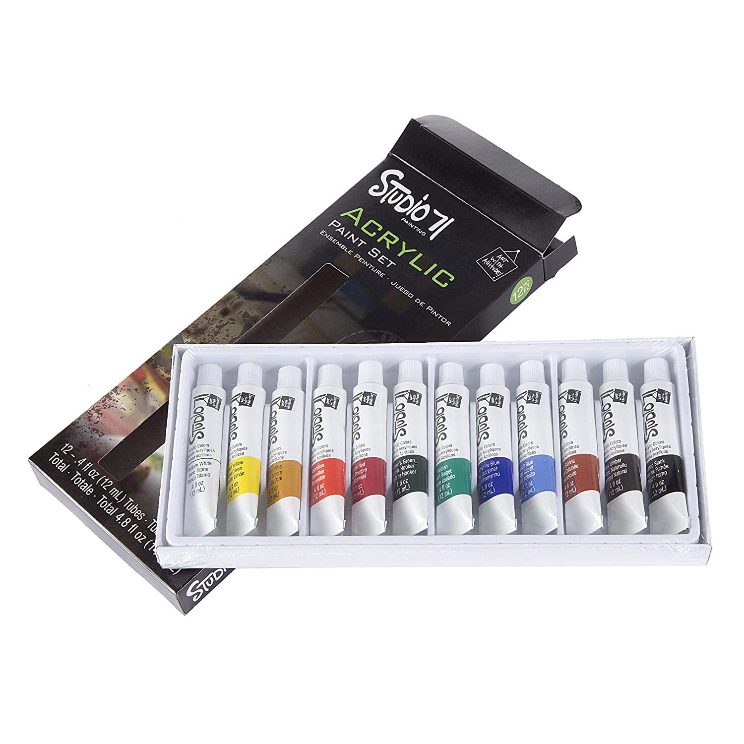 Amazon.com: Darice 12 Pc Acrylic Paint Set Water Based For Canvas, Wood, Fabric, Paper & More!: Toys & Games