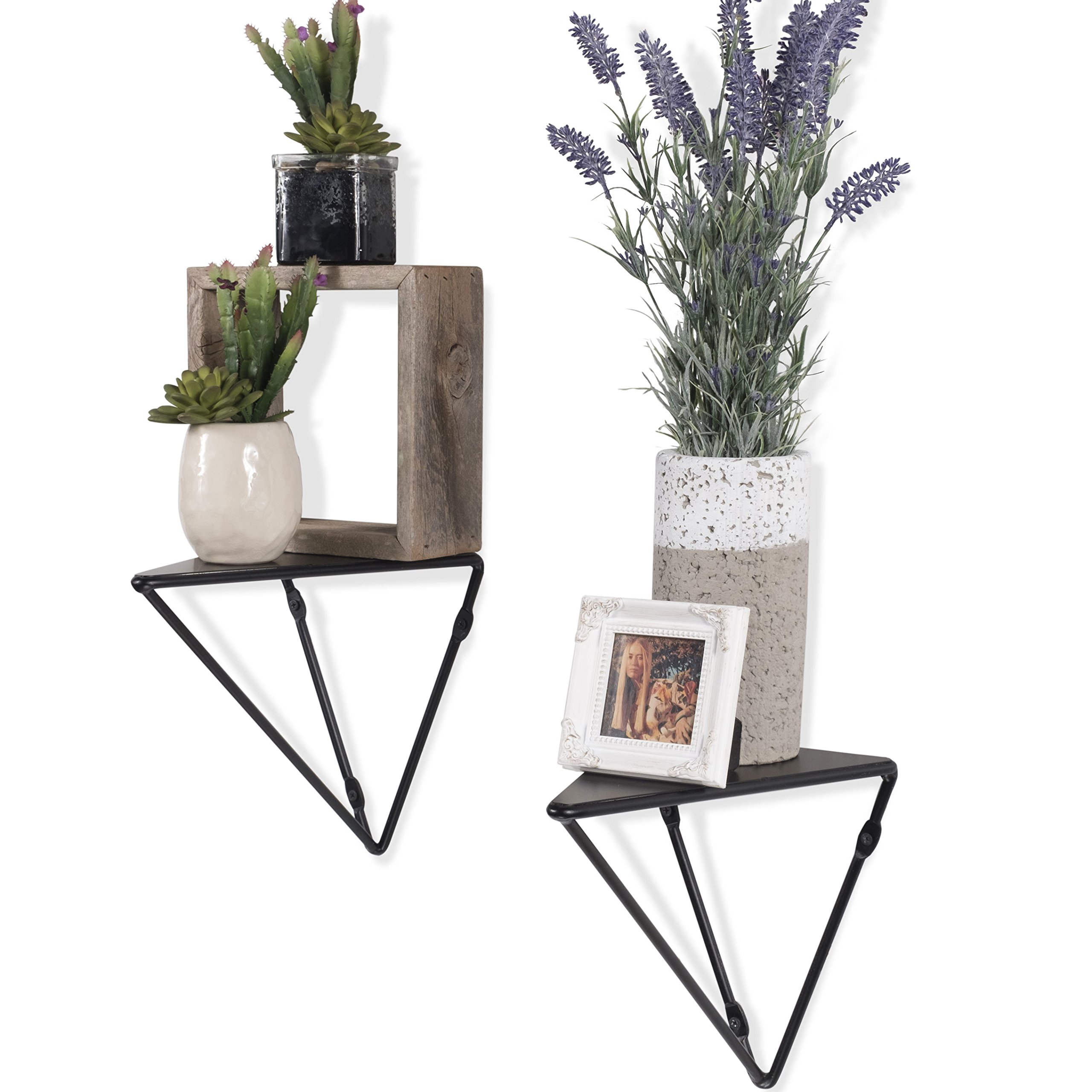 Wallniture Prismo Geometric Floating Decor Shelf – Wall Mount Multi-Use Plant Pot Collectibles Figures Triangle Iron Brackets Black Set of 2 by Wallniture