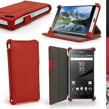 igadgitz Premium Rojo PU Cuero Funda Folio Carcasa para Sony Xperia Z5 Compact E5803 E5823 Piel Case Cover con Soporte + Protector Pantalla