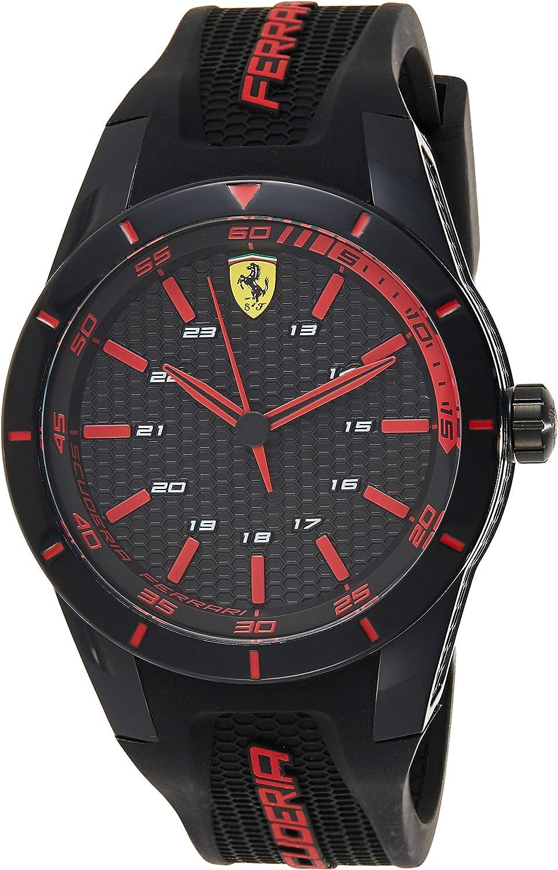 Ferrari 0830245 RedRev - Reloj analógico de pulsera para hombre (cuarzo, correa de silicona)