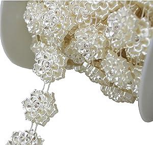 "AEAOA 5 Yards 4/5"" Ivory Flower Pearl Rhinestone Chain Sew On Trims Wedding Dress Decoration (LZ95)"