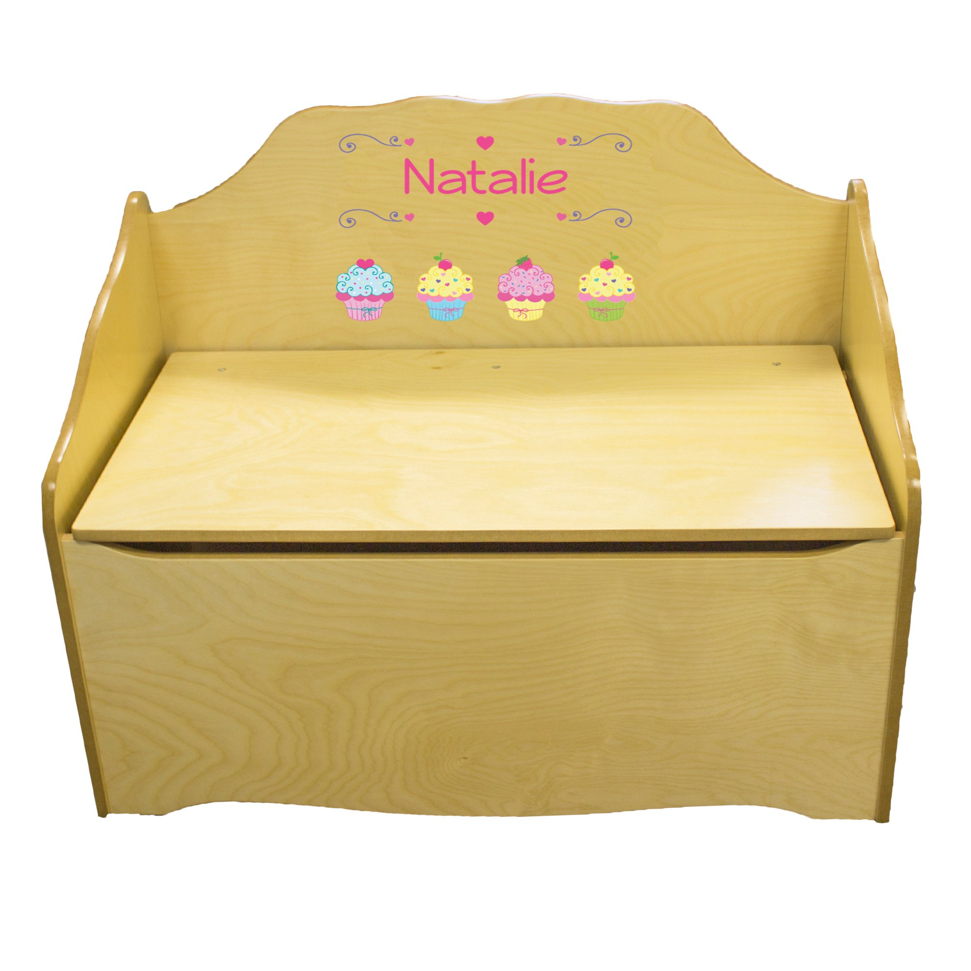 Personalized Cupcake Childrens Natural Wooden Toy Chest