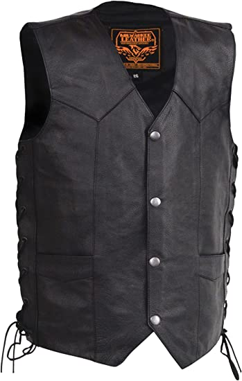 Milwaukee Leather Kids Vest with Side Laces Black, 3X-Large
