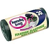 Handy Bag 3 Rouleaux de 15 Sacs Poubelle 30 L, Poignées Coulissantes, Fixation Élastique, Recyclés, Résistant, Anti-Fuites, 55 x 63 cm, Vert Foncé, Opaque