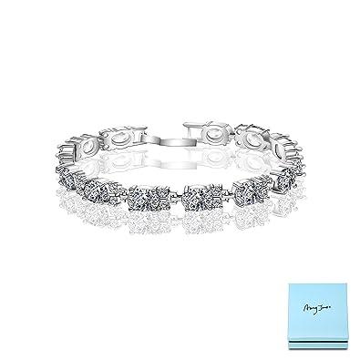 9d1426898cb2b AMYJANE Women's Tennis Bracelet Set - 18k White Gold Plated Sterling ...