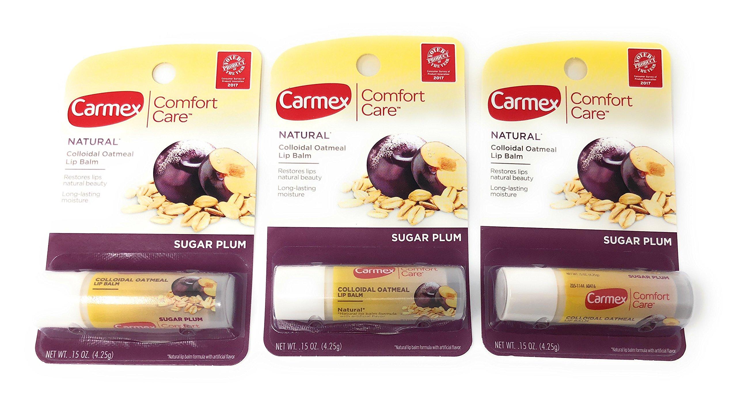 Carmex Comfort Care Colloidal Oatmeal Lip Balm, Sugar Plum .15oz (Pack of 3)