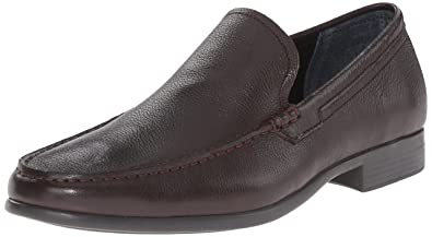 Calvin Klein Men's Landen Tumbled Leather Slip-On Loafer, Drak Brown, ...