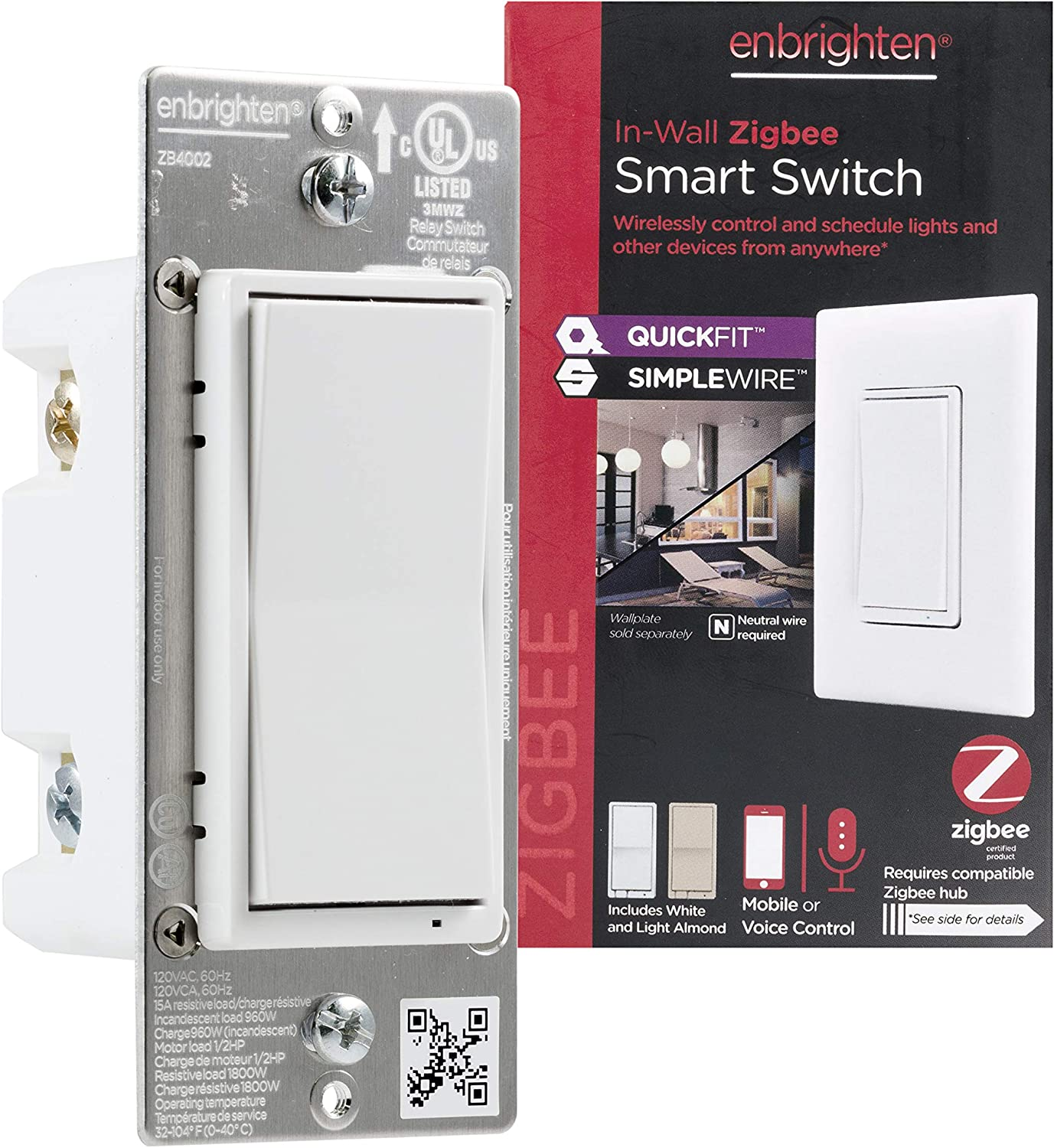 Enbrighten Zigbee Smart Light Switch with QuickFit and SimpleWire, Pairs Directly with Echo Studio/Echo Show 10/Echo Plus 1st & 2nd Gen, White & Light Almond, 43076