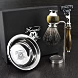 仿角和镍 4 件套男士剃须套装,带 Gillette Mach 3 剃须刀(可更换头)和黑色合成毛刷,HARYALI LONDON 新设计