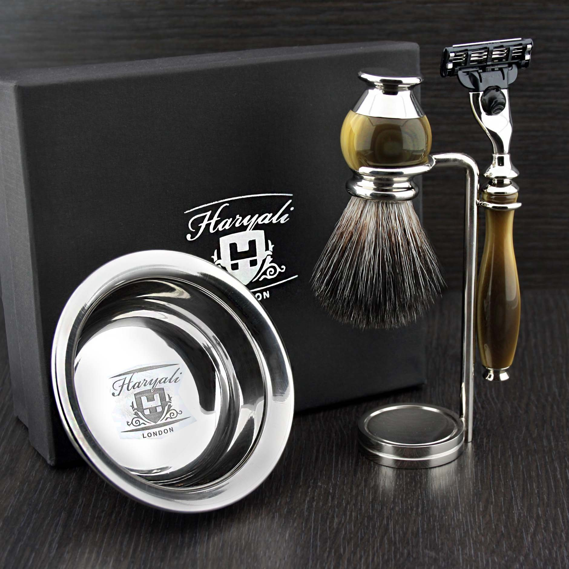 Haryali London 4 Pc Mens Shaving Kit 3 Edge Razor With Black Badger Hair Shaving Brush, Stand and Stainless Steel Bowl Perfect Set For Men by Haryali London
