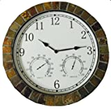 """Rylees Place Indoor/Outdoor Genuine Stone Rock Tile Clock Large 15"""" Diameter Shows Time, Temperature and Humidity"""