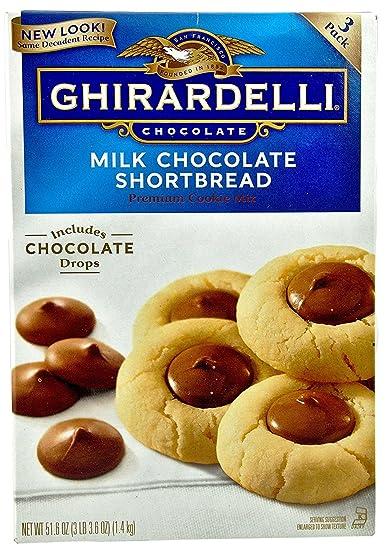 Ghirardelli Milk Chocolate Shortbread Chocolate Drop Premium Cookie Mix 3 Pouches Inside Box