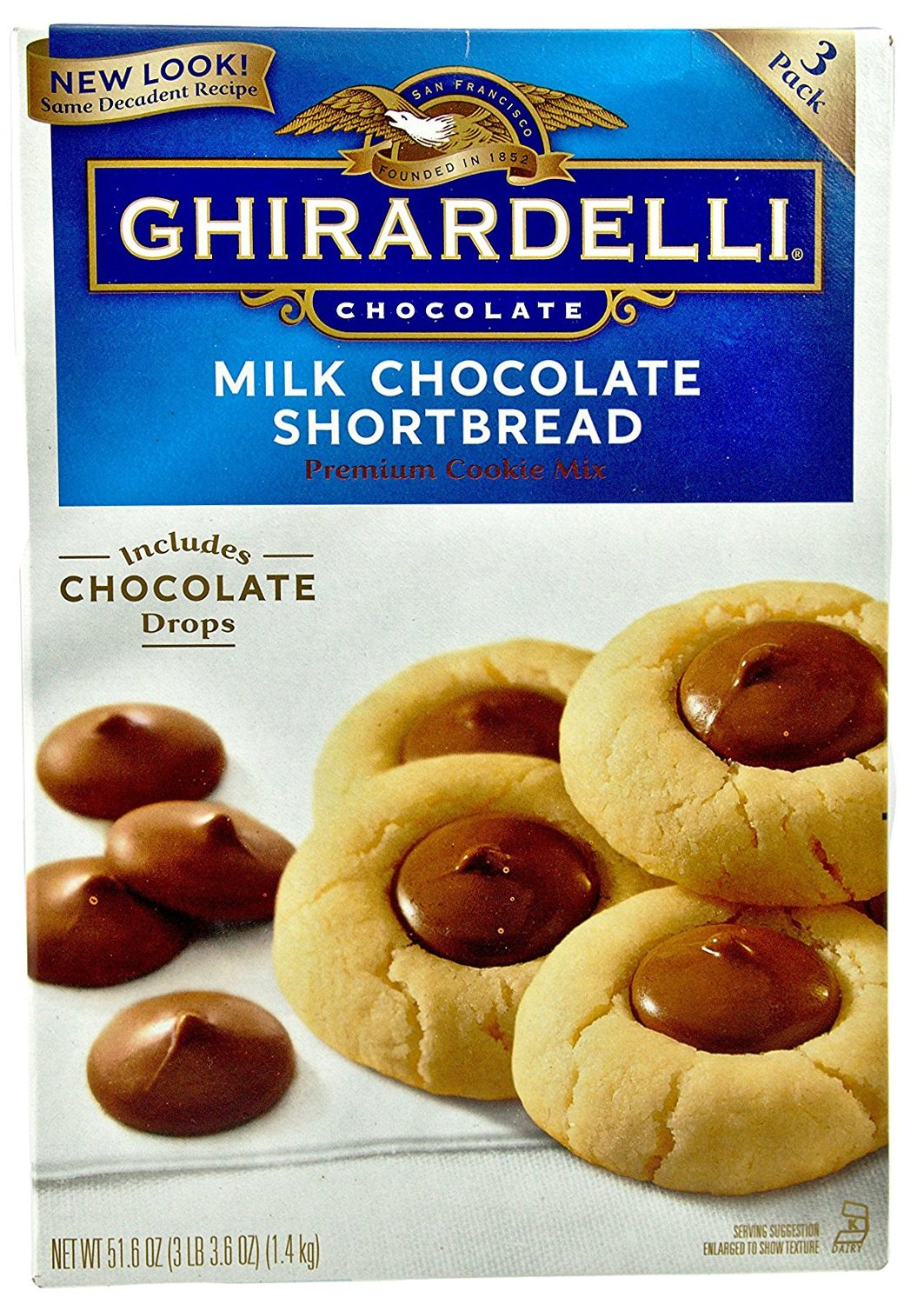 Ghirardelli Milk Chocolate Shortbread Chocolate Drop Premium Cookie Mix 3 Pouches Inside Box, NET WT 51.6 OZ