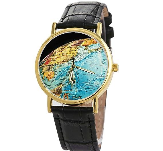 Los científicos explorar reloj 3d planeta tierra mundo mapa relojes de alta calidad de cuero de los hombres reloj de pulsera: Amazon.es: Relojes