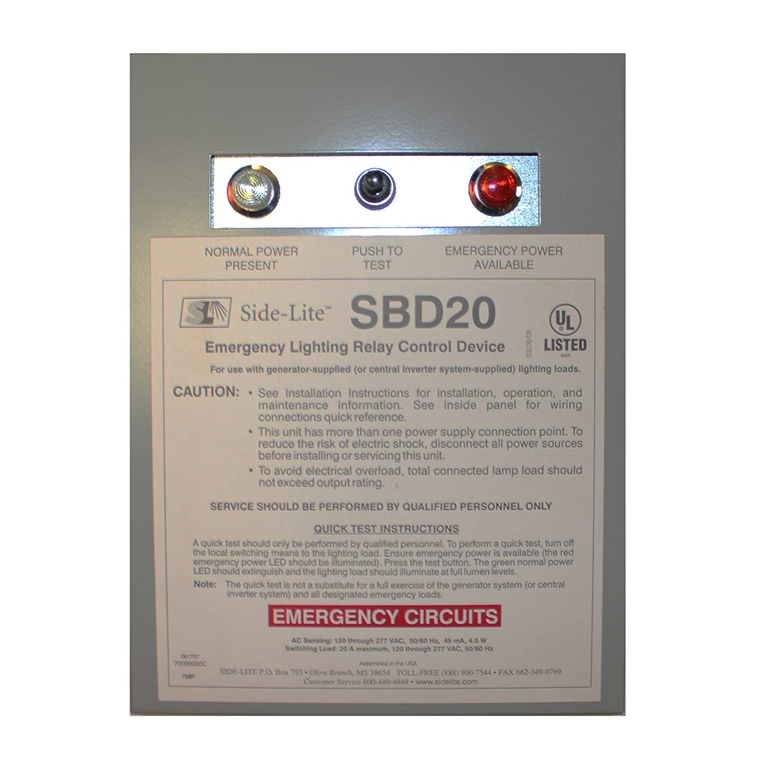 Bodine Side-Lite SDB20 Emergency Lighting Relay Control Device, ELCU,  Emergency Lighting Module - - Amazon.com