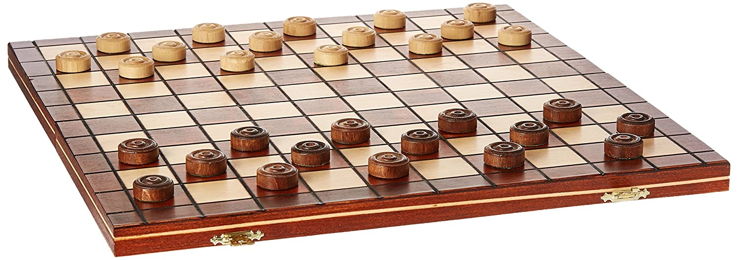 13a189243cfd Checkers Set in Folding Wooden Case - 100 Playing Field - 15-1/2''