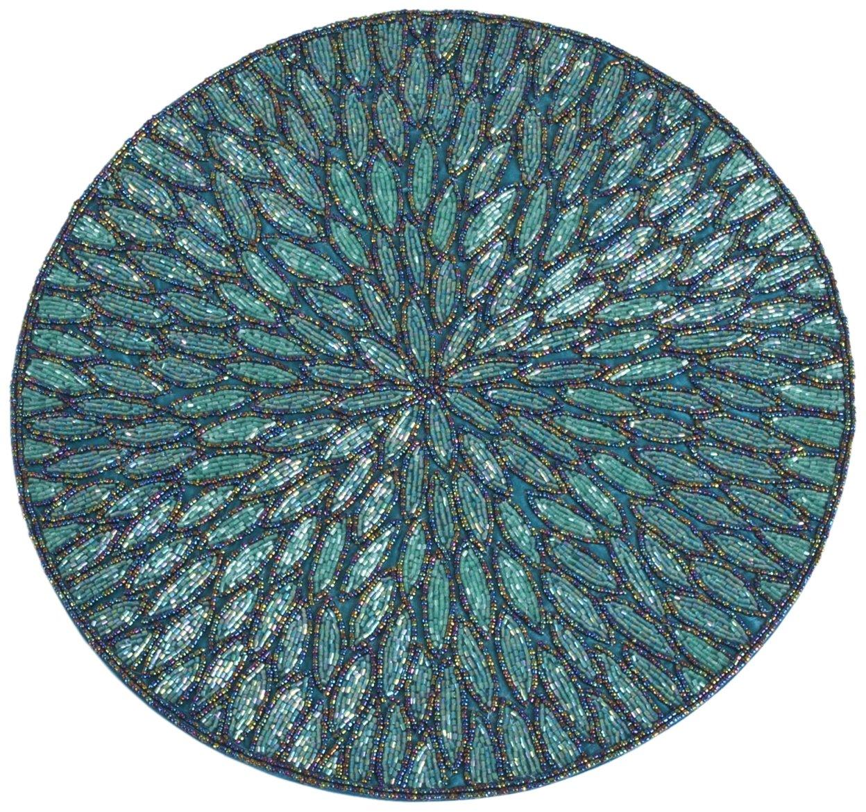 SARO LIFESTYLE Beaded Round Design Placemat 3517.PW15R