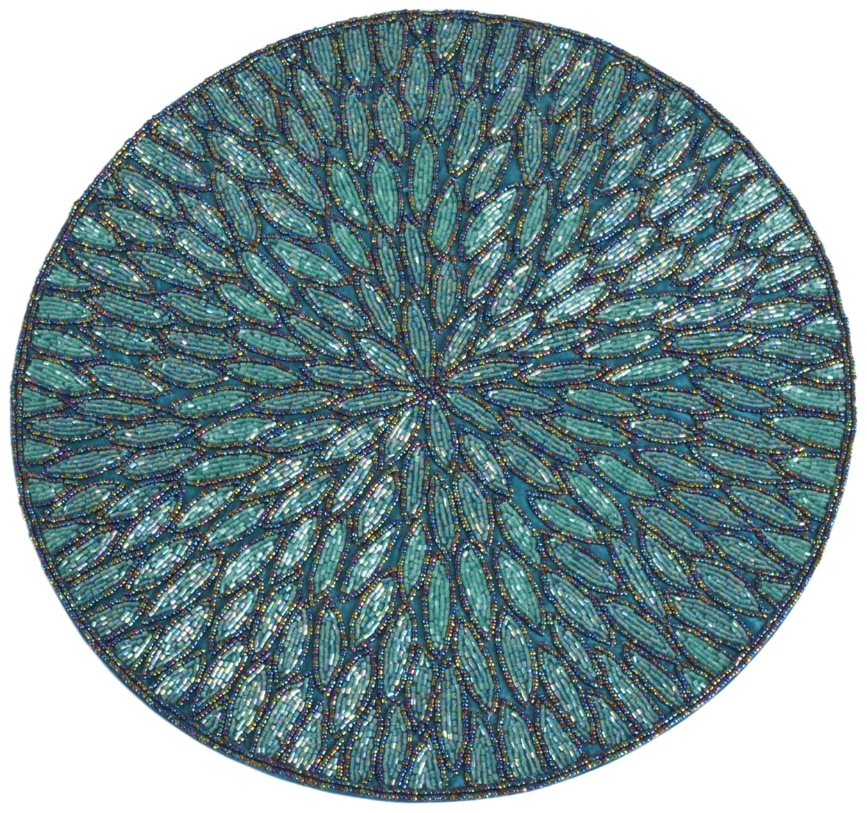 SARO LIFESTYLE 3517.TE15R Round Placemat, 15-Inch, Teal(Sold as Pack of 4)