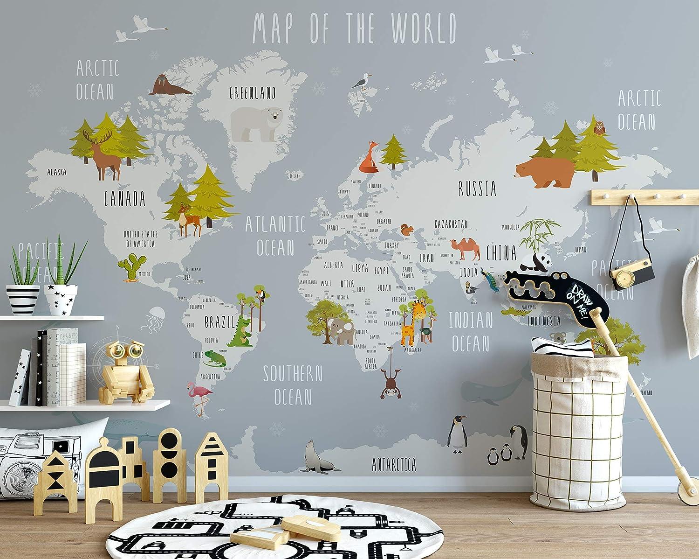 Amazon Com Murwall Kids Map Of The World Nursery Wallpaper Animal