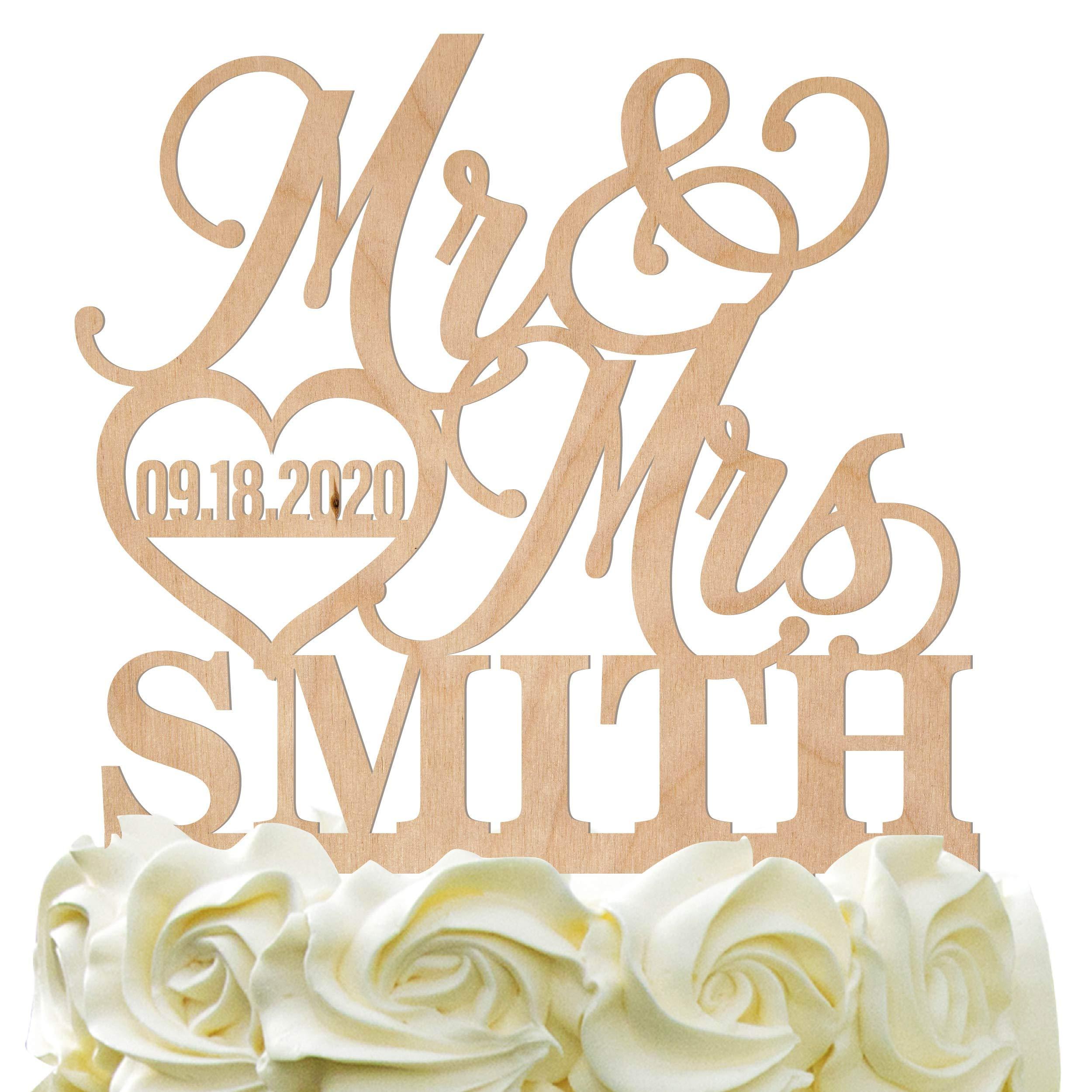 Personalized Wedding Cake Topper - Wedding Cake Decoration Elegant Customized Mr-Mrs, Last Name & Date With HeartWood