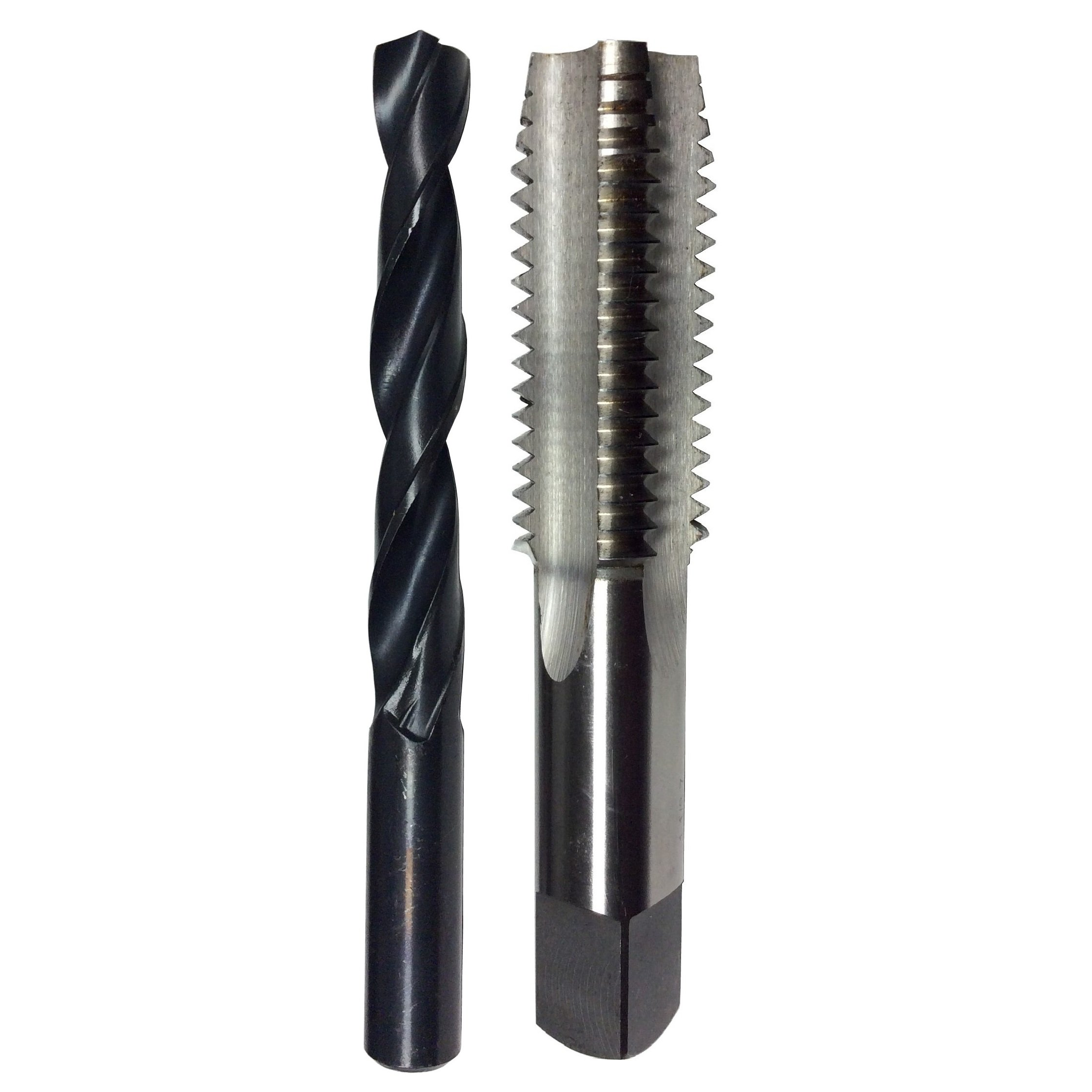 Drill America POUM14X2 Pouf Series M14 x 2 HSS Plug Tap and 12.00mm HSS Drill Bit in Plastic Case, Plug Chamfer, Right Hand Cut, High Speed Steel, Uncoated (Bright) Coating