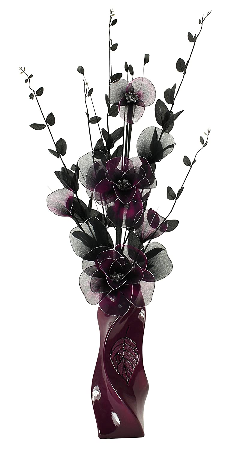 Plum Vase with Purple and Black Artificial Flowers, Ornaments for Living Room, Home Accessories, Window Sill, 80cm Flourish 726102